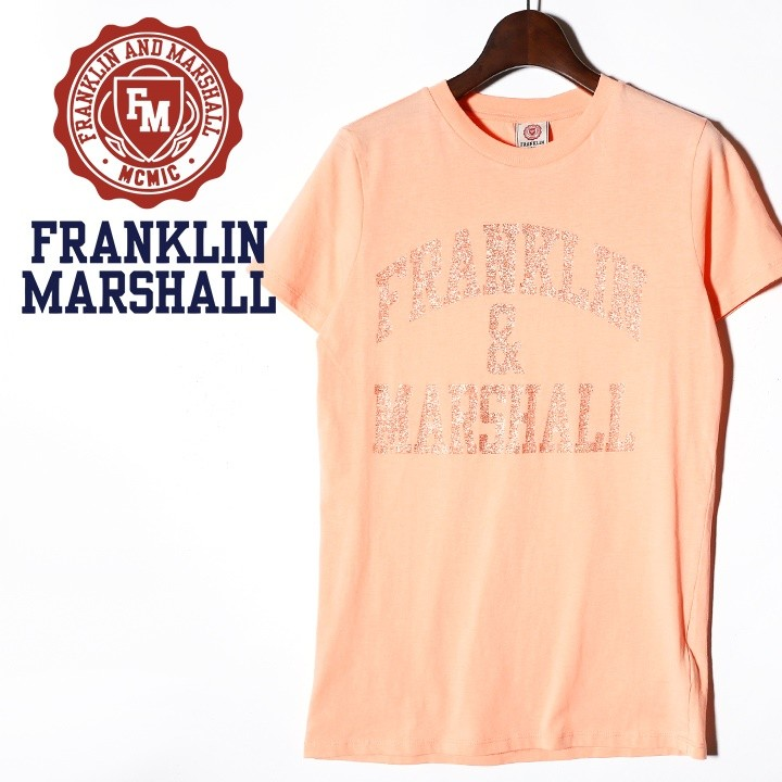 フランクリン&マーシャル FRANKLIN & MARSHALL 半袖Tシャツ レディース グリッターラメロゴ ラウンドネック TSHIRT JERSEY ROUND NECK SHORT