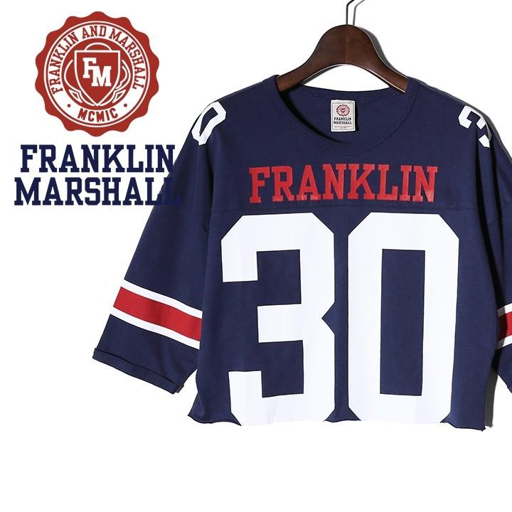 フランクリン&マーシャル FRANKLIN & MARSHALL Tシャツ カットソー レディース ショート丈 カットオフ 五分袖 TSHIRT JERSEY ROUND NECK SHORT