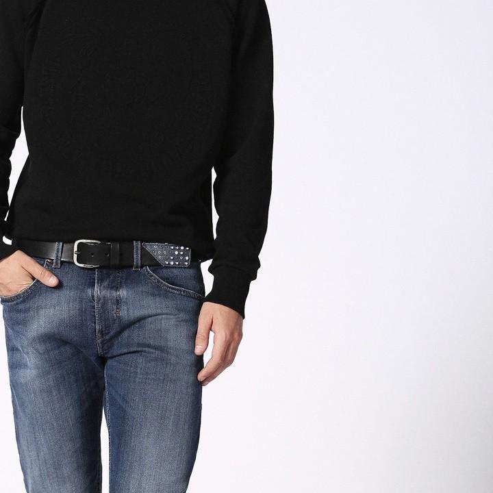 ディーゼル DIESEL レザーベルト メンズ レディース 男女兼用 デニム切替 スタッズ装飾 牛革 本革 B-ACTION