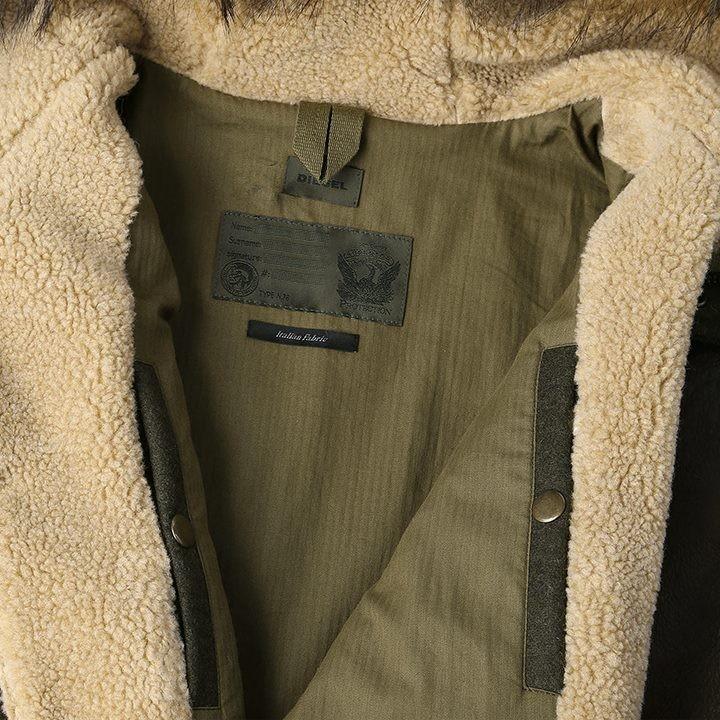 ディーゼル DIESEL ロングコート メンズ 袖ラムレザー切替 圧縮ウール フェイクファー 中ボア W-NICK