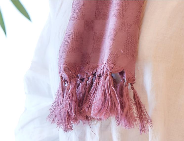 スカーフ 無地 合成染料 葡萄色