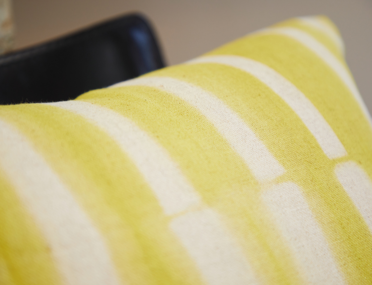クッションカバー 縦縞 黄