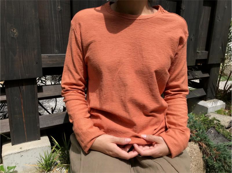 草木染め柿渋わた染めのオーガニック吊り編みTシャツ長袖