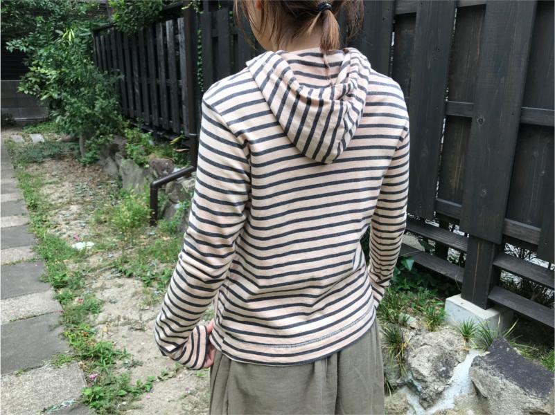 草木染めオーガニック吊り編み横しまレディスパーカー