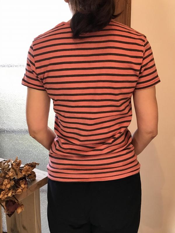 草木染めオーガニック吊り編み横しまUネックカットソー半袖