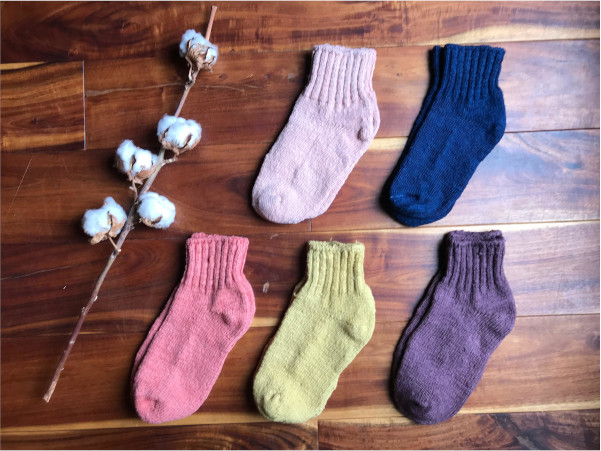 草木染めオーガニックコットンガラ紡アンクルソックス靴下
