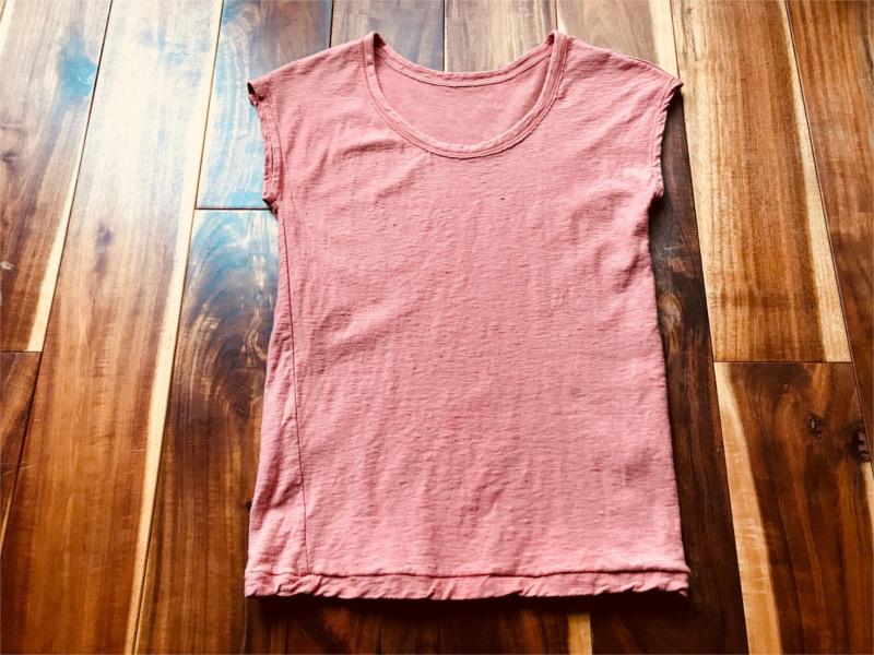 草木染め柿渋わた染めのオーガニック吊り編みノースリーブTシャツ