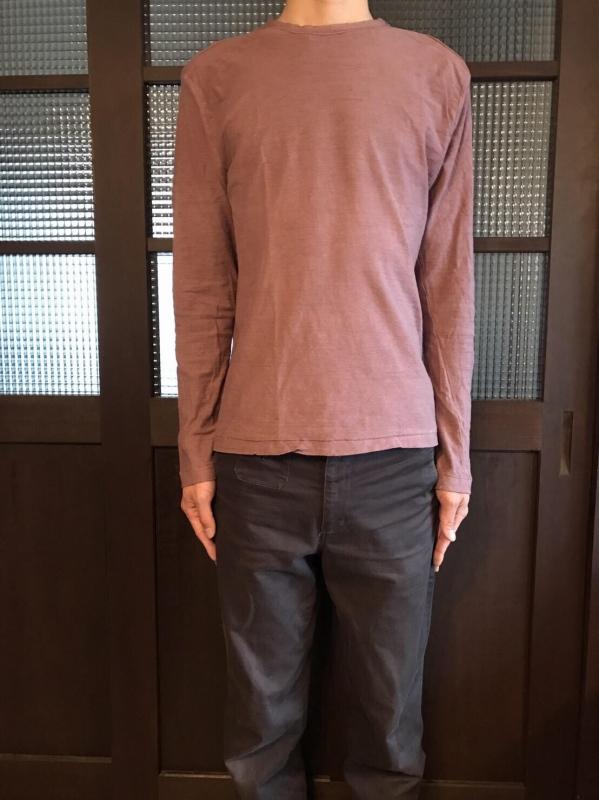 草木染めオーガニック吊り編みTシャツ長袖