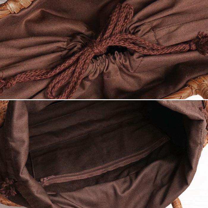山葡萄 かごバッグ 鞄 山葡萄 バッグ みだれ花編み (約cm)H25×W31×D10>