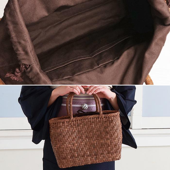 山葡萄 かごバッグ 鞄 山葡萄 バッグ 網代編み (約cm)H23×W31×D10>