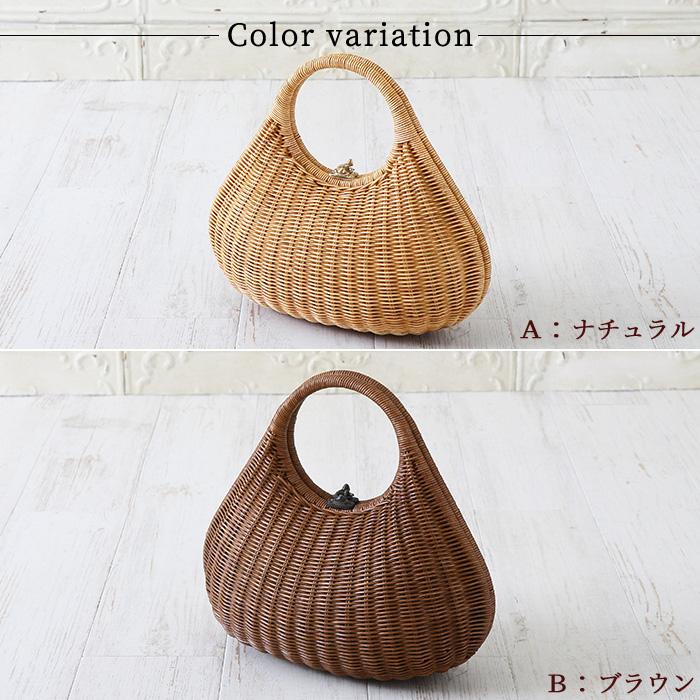 かごバッグ 鞄 ラタン バッグ オーバル 選べる2色 約34×16×18(31)cm>
