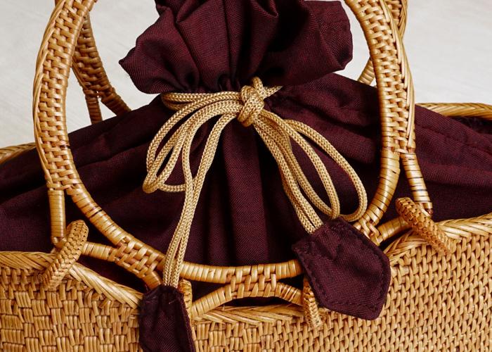 アタ バッグ 岡重 オーバル 巾着 選べる3色 約27×9×16(34)cm>