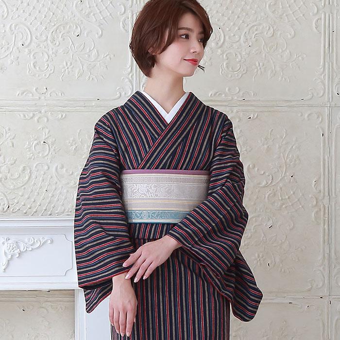 木綿 着物 仕立て上がり 遠州綿紬 4柄 日本製 遠州縞紬 プレタ 138>