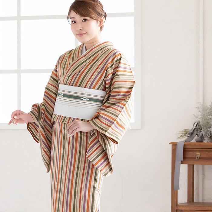木綿 着物 仕立て上がり 遠州綿紬 4柄 日本製 遠州縞紬 プレタ 142>