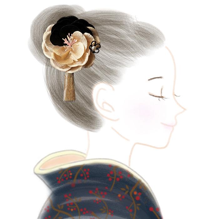 髪飾り 2点セット 花 ベロア 金色 タッセル 白 赤 3タイプ 日本製>