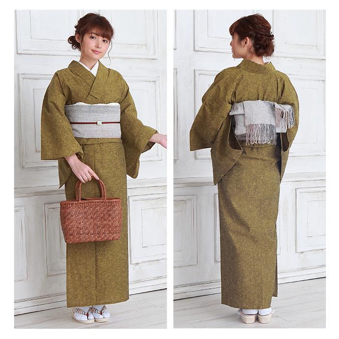木綿 着物 仕立て上がり 遠州綿紬 4柄 日本製 無地紬 プレタ 164>