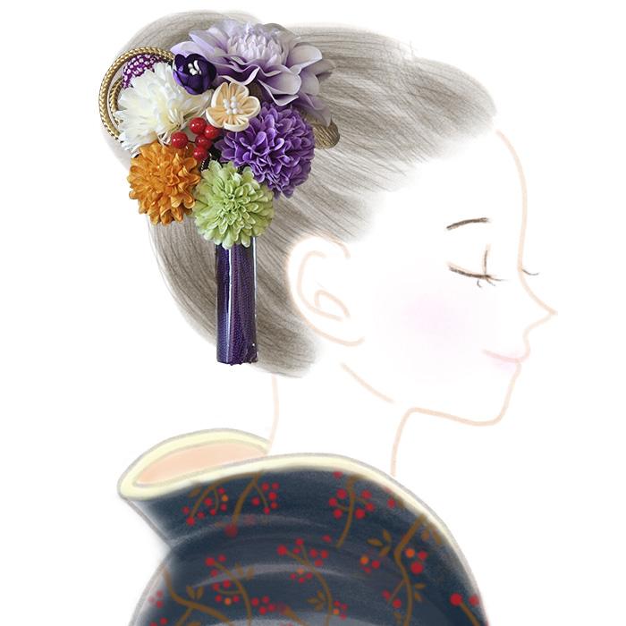 髪飾り 2点セット 花 タッセル つまみ細工 ピンポンマム 日本製>
