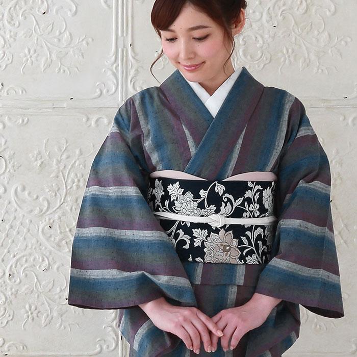 木綿 着物 仕立て上がり 遠州綿紬 4柄 日本製 遠州縞紬 プレタ 180>