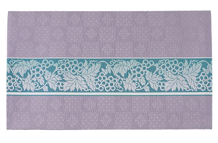 博多織 名古屋帯 仕立て上がり 正絹 薄藍色 繧繝更紗 宇美間道 森博多織>