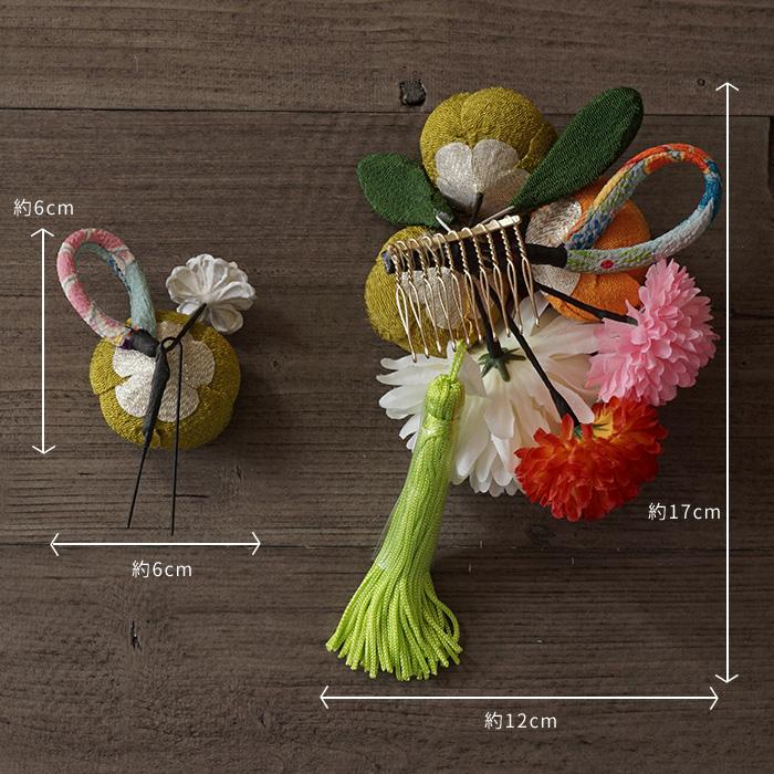 髪飾り 2点セット 花 タッセル 椿 ピンポンマム 3タイプ 日本製>