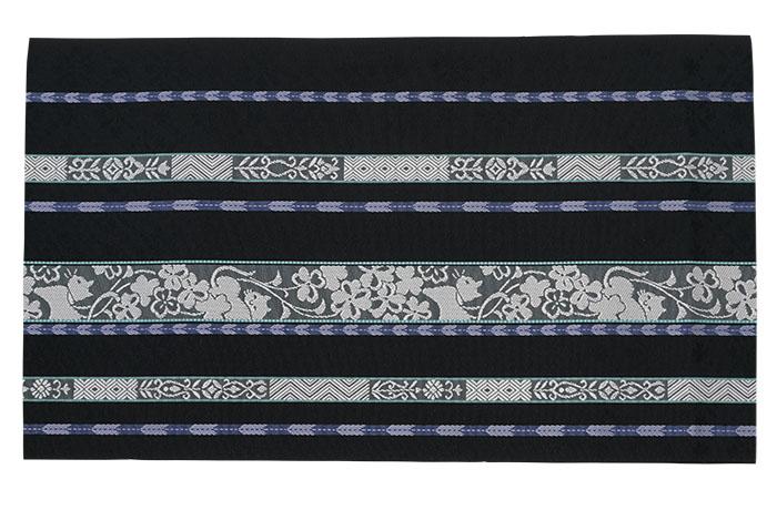 博多織 名古屋帯 仕立て上がり 正絹 黒色 ネコとクローバー 森博多織>