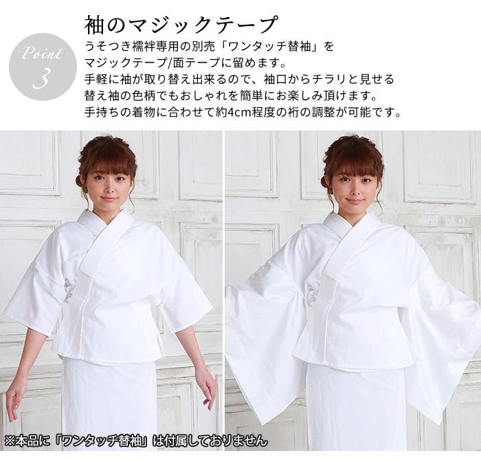 うそつき 半襦袢 抗菌 さらし 共袖 日本製 半衿 替え袖 別売>