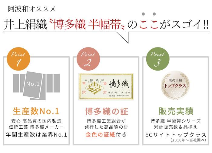 正絹 半幅帯 博多織 四寸 単帯 献上柄 五献上 607 日本製 井上絹織>