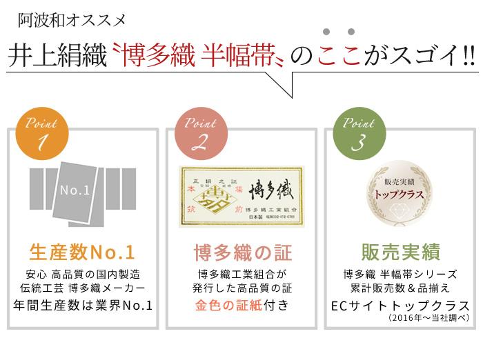 正絹 半幅帯 博多織 四寸 単帯 献上柄 三献上 622 日本製 井上絹織>