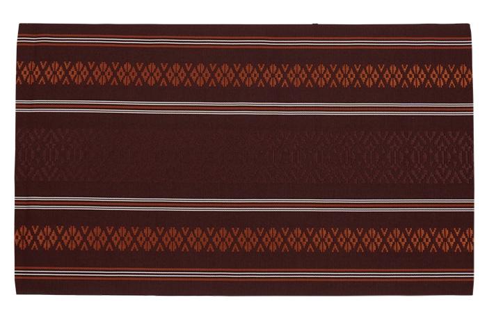 博多織 名古屋帯 仕立て上がり 正絹 臙脂墨色 茶褐色 献上柄 三献上>