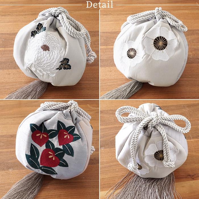 振袖 バッグ 単品 巾着 丸型 たっぷり収納 選べる3色 橘 菊 刺繍 バッグ>