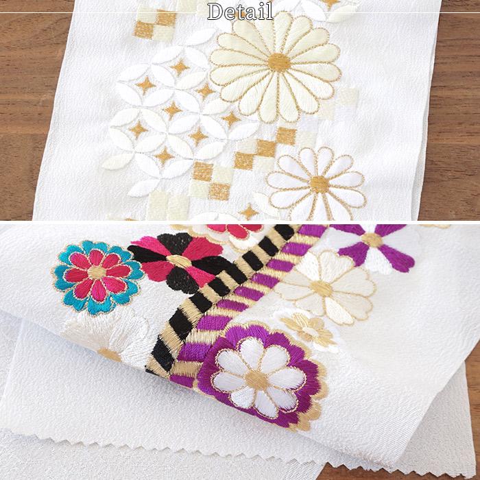 刺繍 半襟 振袖 成人式 半衿 2way 19種類 日本製 シルエーヌ 菊七宝>