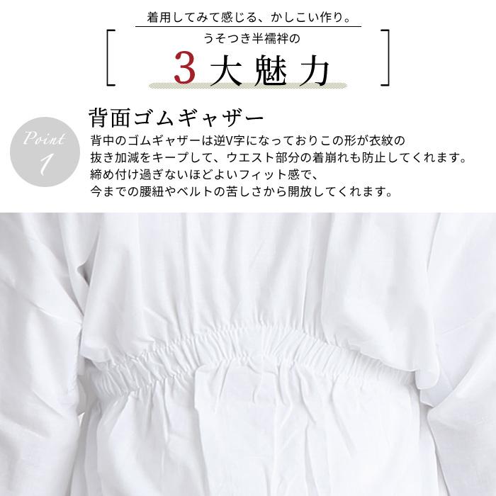 うそつき 半襦袢 替え袖 セット 替袖 夏用 紗 市松 淡水色 日本製>