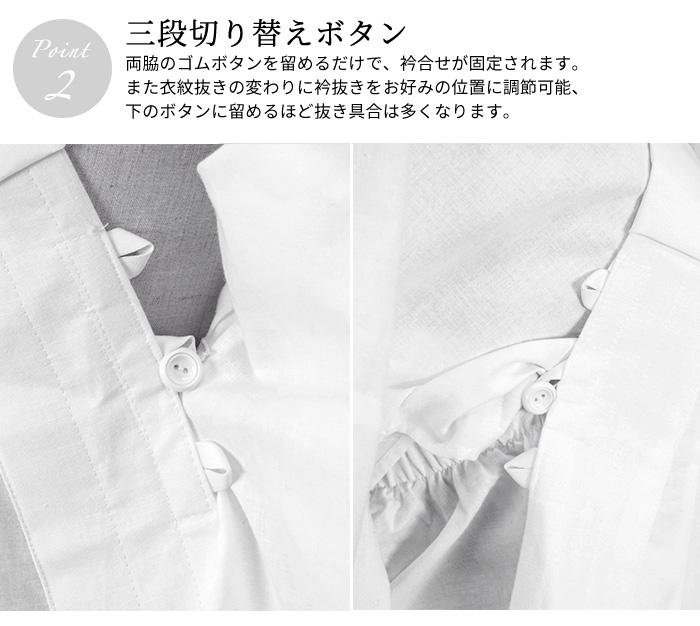 うそつき 半襦袢 替え袖 セット 替袖 夏用 絽 友禅 撫子 黄緑色系 ぼかし 日本製>