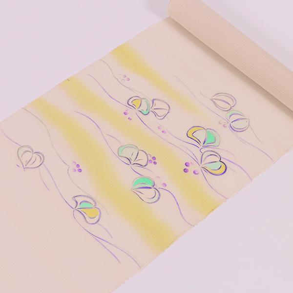 【大黒屋特選】夏染め九寸名古屋帯(白茶色、山帰来)送料無料 名古屋仕立税込
