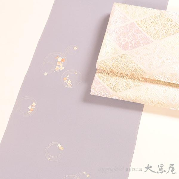 【大黒屋特選】付下(手描友禅 丸輪に草花、ブルーネズ) 袷仕立税込 送料無料