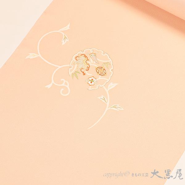 【大黒屋特選】京友禅 付下(手描友禅 雪輪唐草、サーモンピンク)袷仕立税込、送料無料