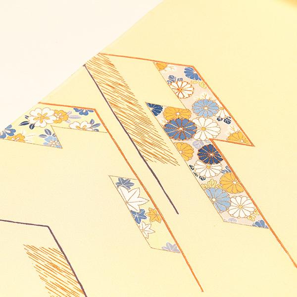 【染の老舗 野口】付下 京友禅(玉子地、松皮菱小花)袷仕立税込、送料無料