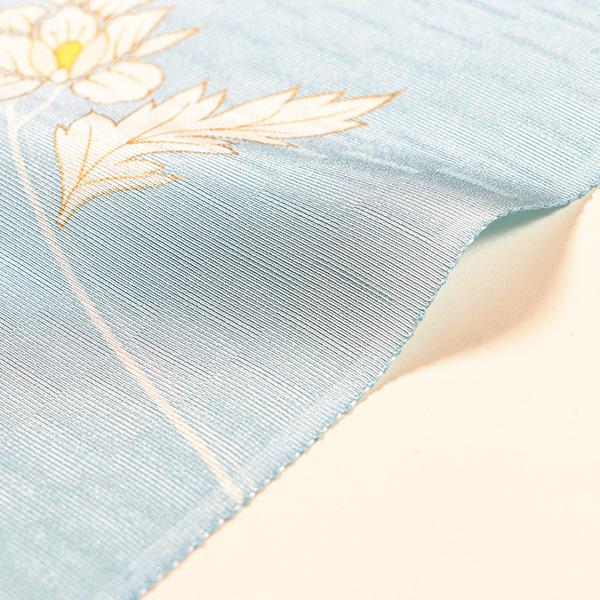 【染の老舗 野口】小紋 (水色、枝唐草流水取)  袷または羽織仕立税込 送料無料