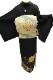正絹黒留袖レンタルフルセット「金駒刺繍 斜め取りに更紗」