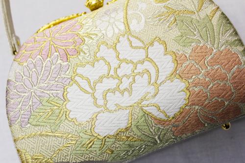 最高級草履バッグ「帯地/菊牡丹」