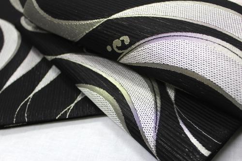 西陣織橋本清謹製 夏物袋帯「波に波頭」