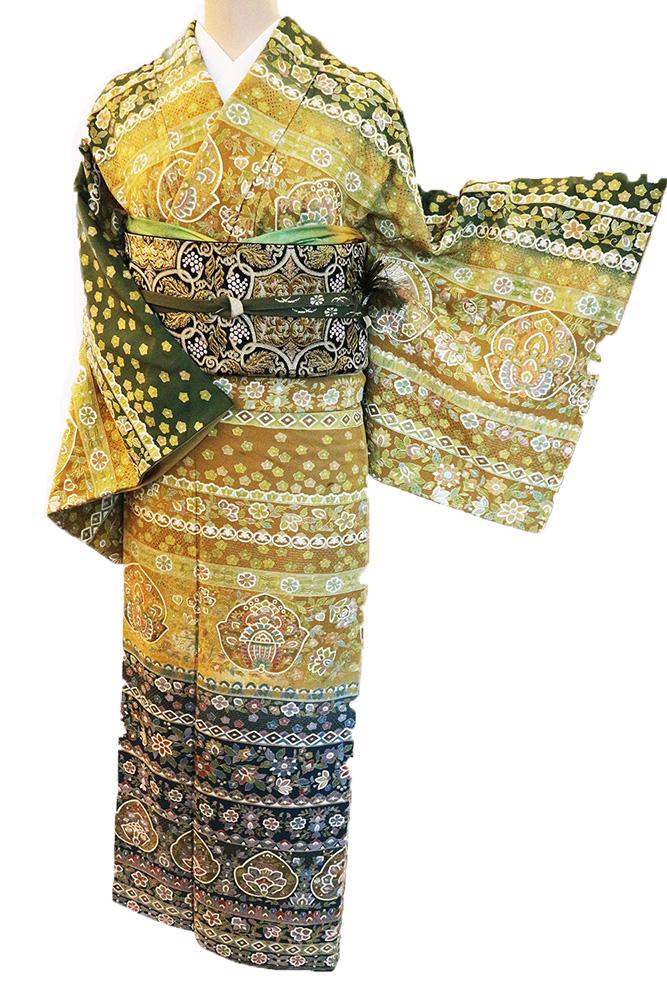正絹訪問着 レンタルフルセット「総柄汕頭刺繍 横段唐花華紋」