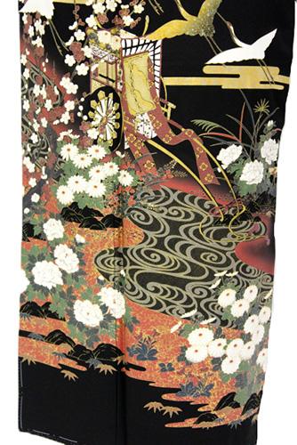 正絹黒留袖レンタルフルセット「御所車に鶴」