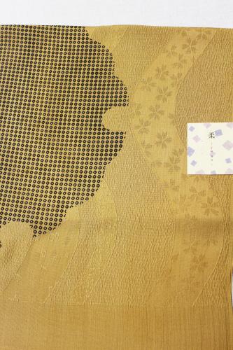 京友禅正絹帯揚げ「桜の地紋に雪輪鹿の子」