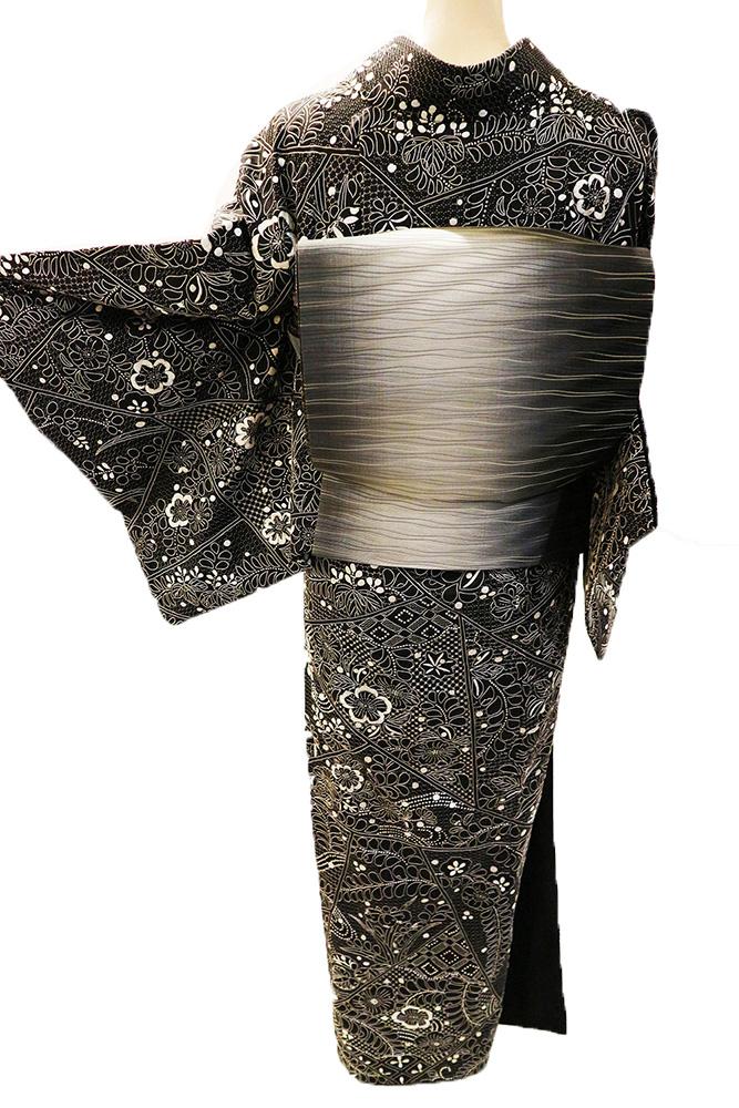 正絹訪問着 レンタルフルセット「総柄汕頭刺繍 辻が花に四季の花」
