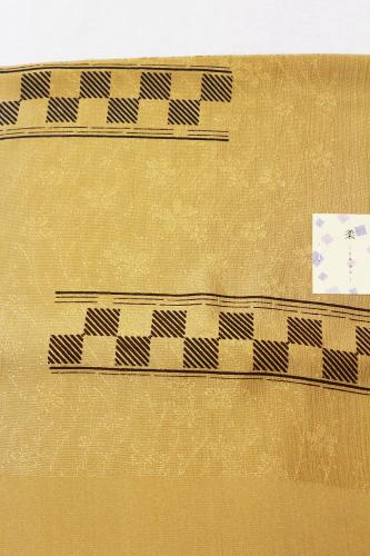 京友禅正絹帯揚げ「桜の地紋に市松取り斜線」