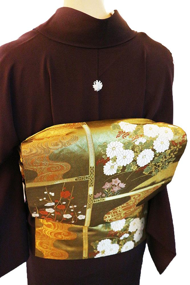 正絹色喪服レンタルフルセット「濃紫/揚羽蝶紋」