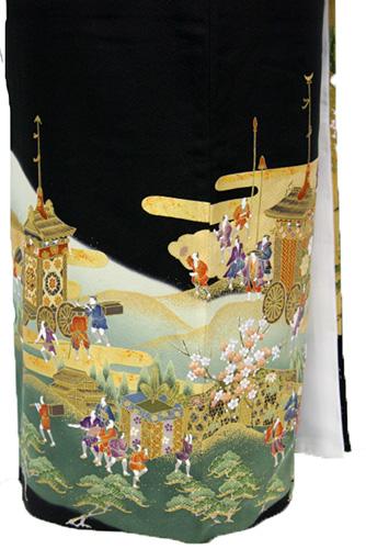 正絹黒留袖レンタルフルセット「祇園祭と梅・松」