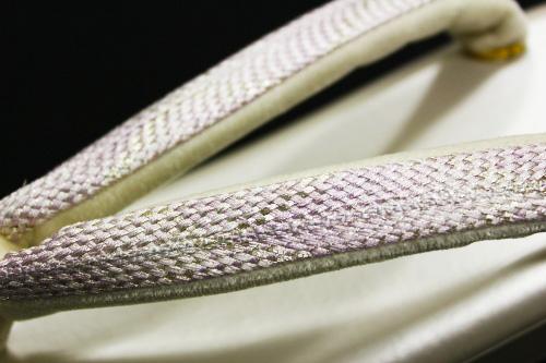 名門紗織謹製 礼装用草履「薄クリームにパープル組織鼻緒」