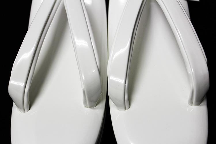 日本製草履 「Lサイズ 白/エナメル」